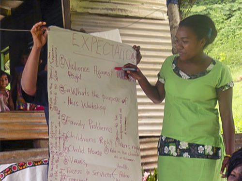 A youth participant presents during day one of the workshop in Kasavu, Savusavu.