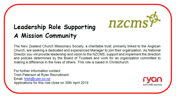 Job Opportunity - National Director, NZCMS
