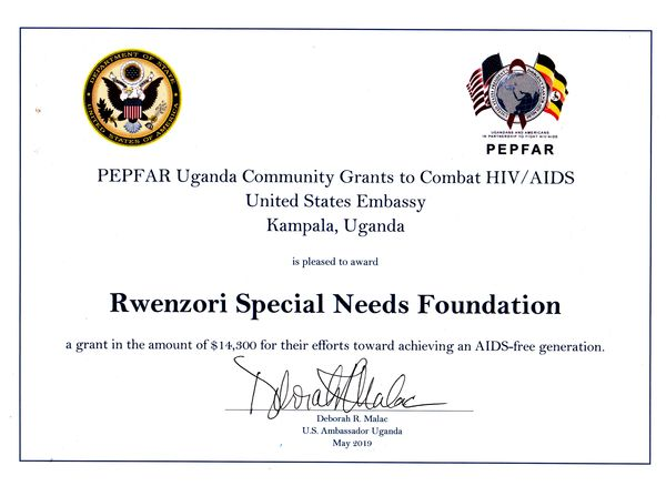 Rwenzori Special Needs Foundation, Uganda awarded